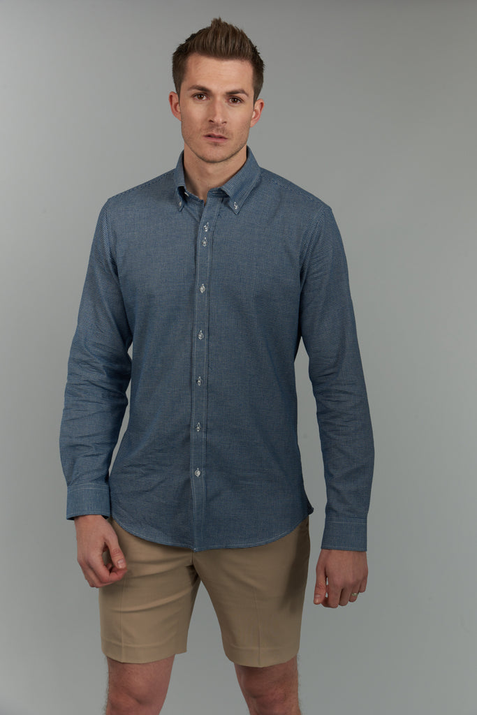 Earl | Blue Checked Shirt With Button Down Collar
