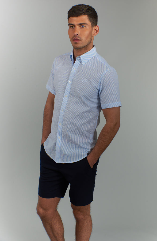 Clarence | Blue Striped Short Sleeved Shirt