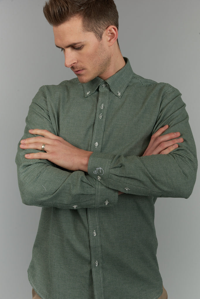 Earl | Green Checked Shirt With Button Down Collar