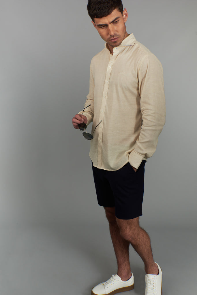 Men's Long Sleeved Linen Shirt - Cream - Peter