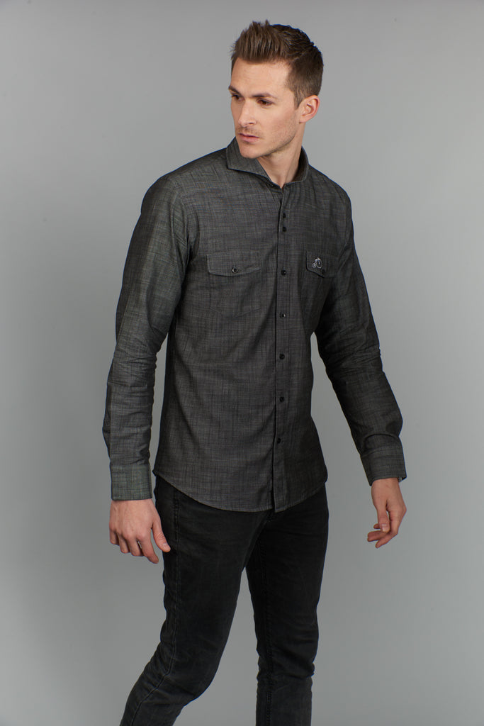Irving | Grey Denim Shirt With Cutaway Collar