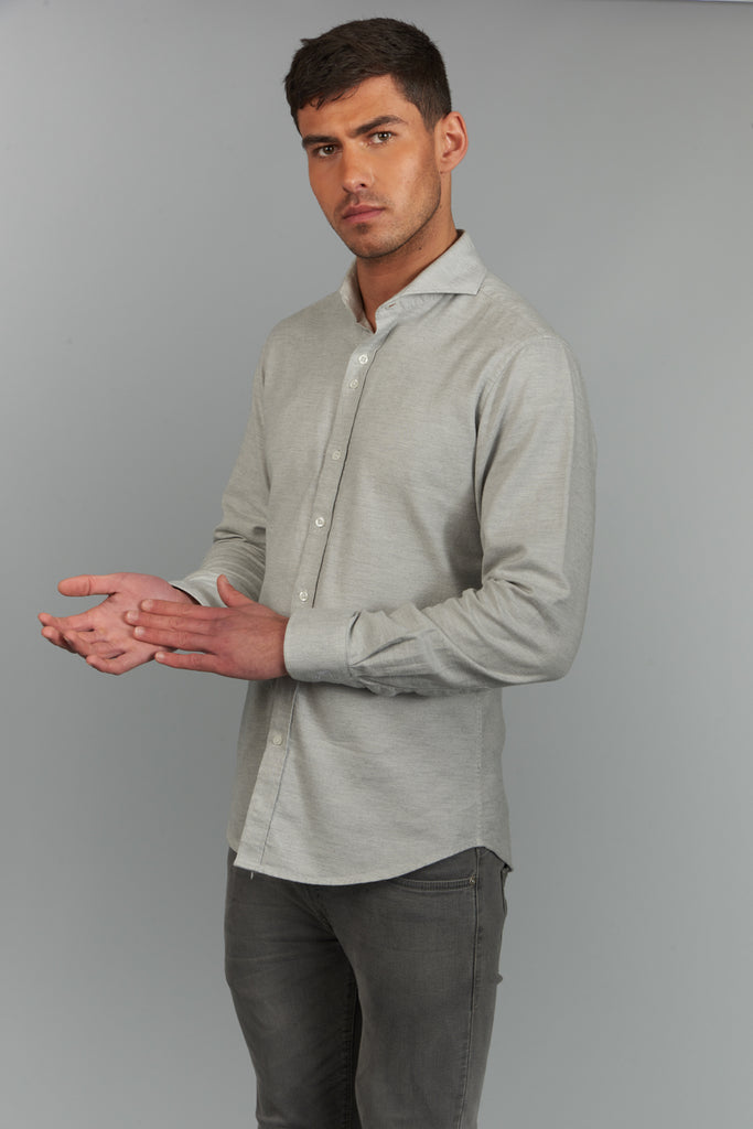 Orville | Grey Flannel Shirt With Cutaway Collar