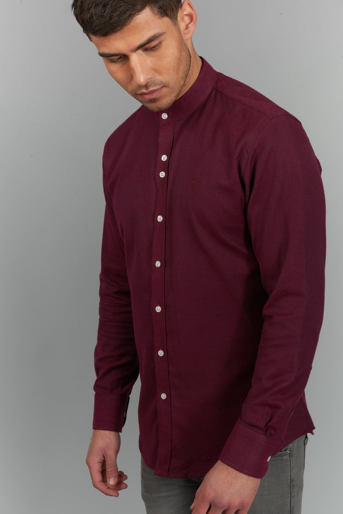 Men's Shirt With Grandad Collar - Maroon - Oswald