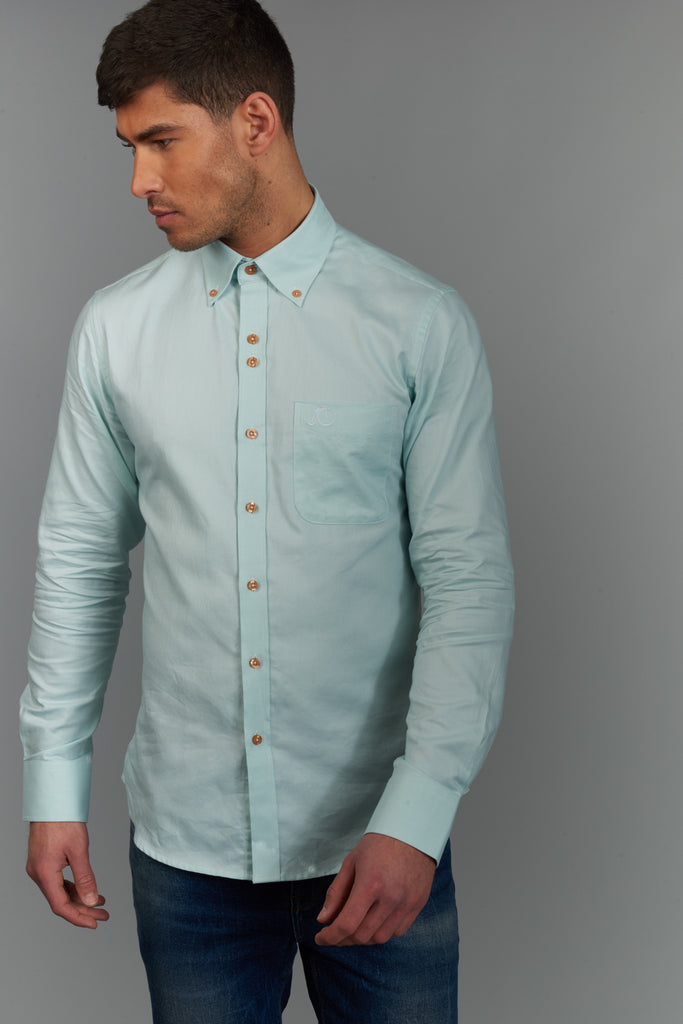 Men's Oxford Shirt 100% Cotton - Light Green - Victor