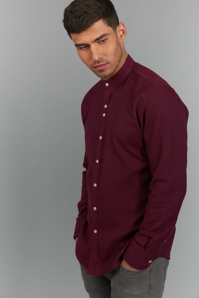 Oswald | Maroon Shirt With Grandad Collar