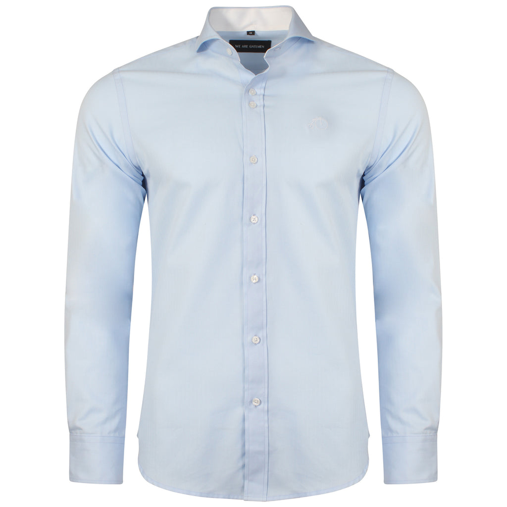 Winston | Blue Dress Shirt With Cutaway Collar
