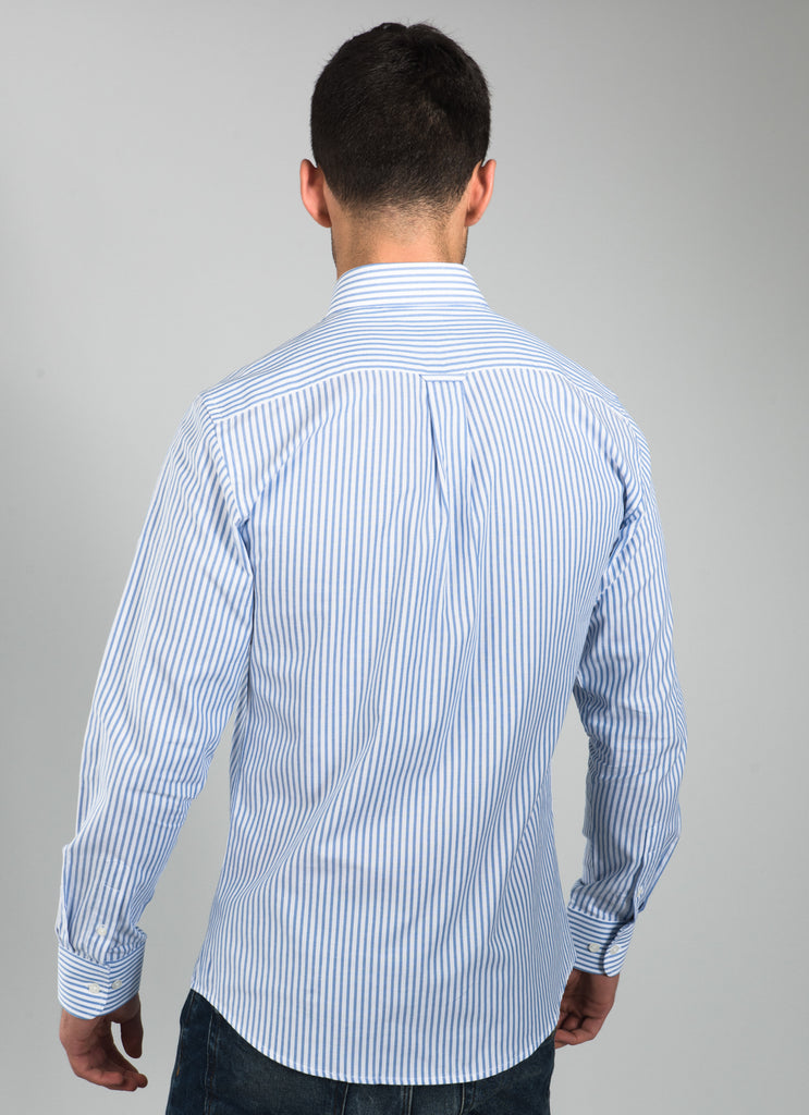 Men's  Striped Cotton Shirt - Blue & White - Frederick