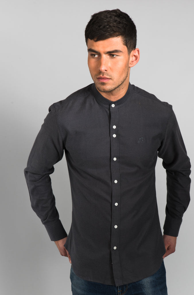 Oswald | Charcoal Shirt With Grandad Collar