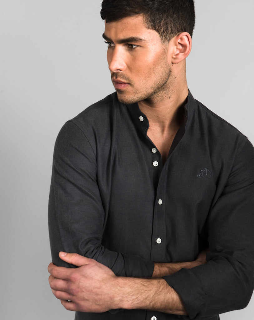 Men's Shirt With Grandad Collar - Charcoal - Oswald