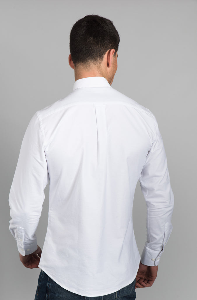 Men's Oxford Shirt with Grandad Collar - White - Eric