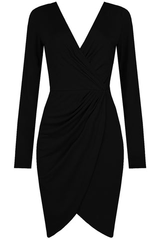 PLEATED CROSS OVER BODYCON DRESS