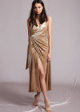JERRY HALL VELVET WRAP DRESS - NUDE