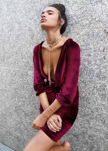 AURORA VELVET MINI DRESS