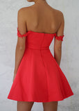 CORAL CROCHET TRIM PROM DRESS