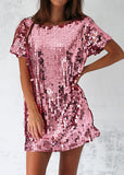MOTEL MAUSI DRESS - METALLIC ROSE SEQUIN