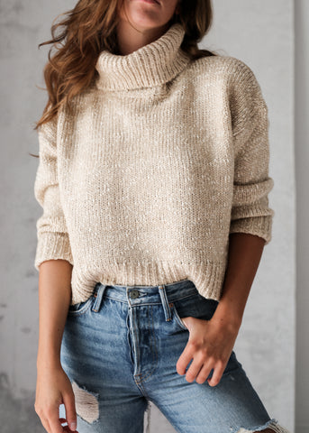 ROLL NECK KNIT - NUDE