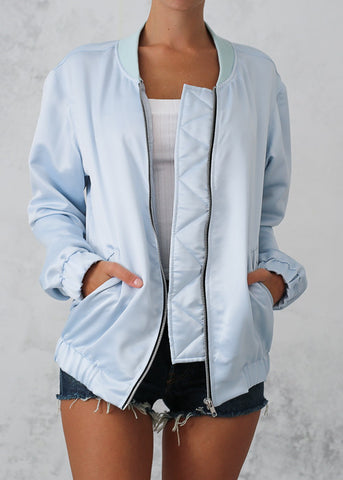 MOTEL BOMBER JACKET - BABY BLUE SATIN