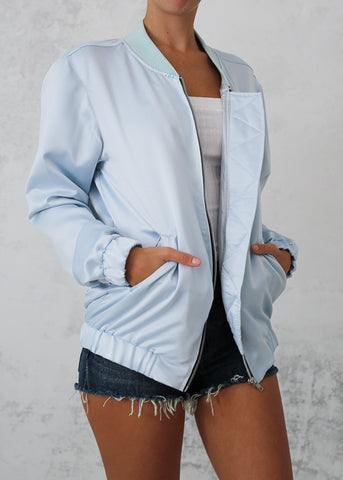 MOTEL COPPENS BOMBER JACKET - BABY BLUE SATIN
