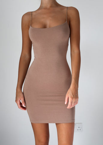 BASIC INSTINCT DRESS - COFFEE