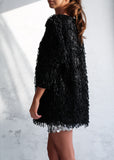 MOTEL BLACK VELVET SHAGGY CARDIGAN