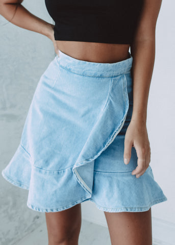 DENIM FRILL SKIRT
