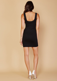 LACED UP LA RENTA DRESS - BLACK