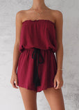 STRAPLESS PLAYSUIT - WINE