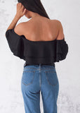 SPANISH FRILL TOP - BLACK