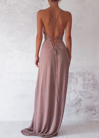 LUNA TIE BACK MAXI - CHOCOLATE