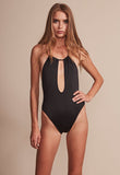 JERRY HALL HALTER ONE PIECE - BLACK