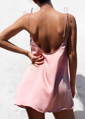 HAIZE SLIP DRESS - PINK SATIN