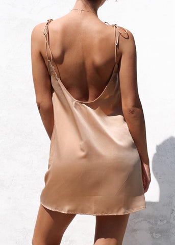 HAIZE SLIP DRESS - GOLD SATIN