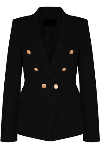 DOUBLE BREAST BLAZER - BLACK