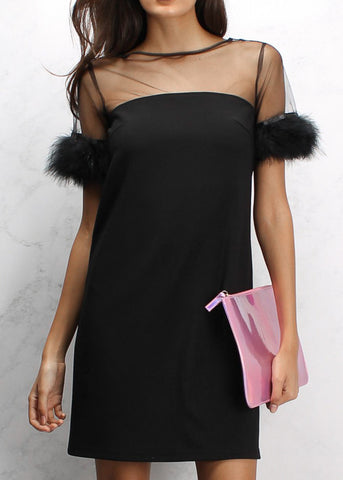 BLACK FEATHER TRIM SHIFT DRESS