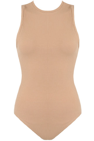 RIBBED BODYSUIT - SAND