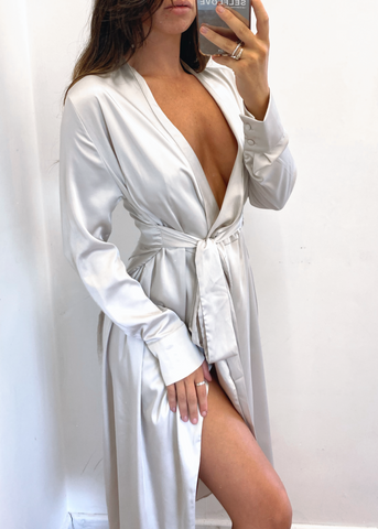 OLIVIA WRAP DRESS - GREY