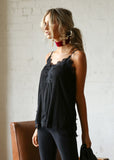 AMANDA SLIP TOP - BLACK