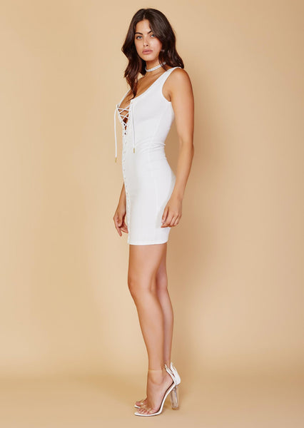LACE UP LA RENTA DRESS - WHITE