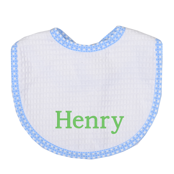 Personalized baby items and gifts letter loft dot pique bib 2 colors negle Choice Image