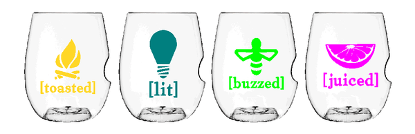 Govino Wine Glasses - Buzzed Set