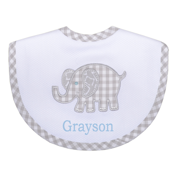 Elephant Applique Bib - 3 colors