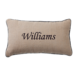 Burlap Throw Pillow with Trim