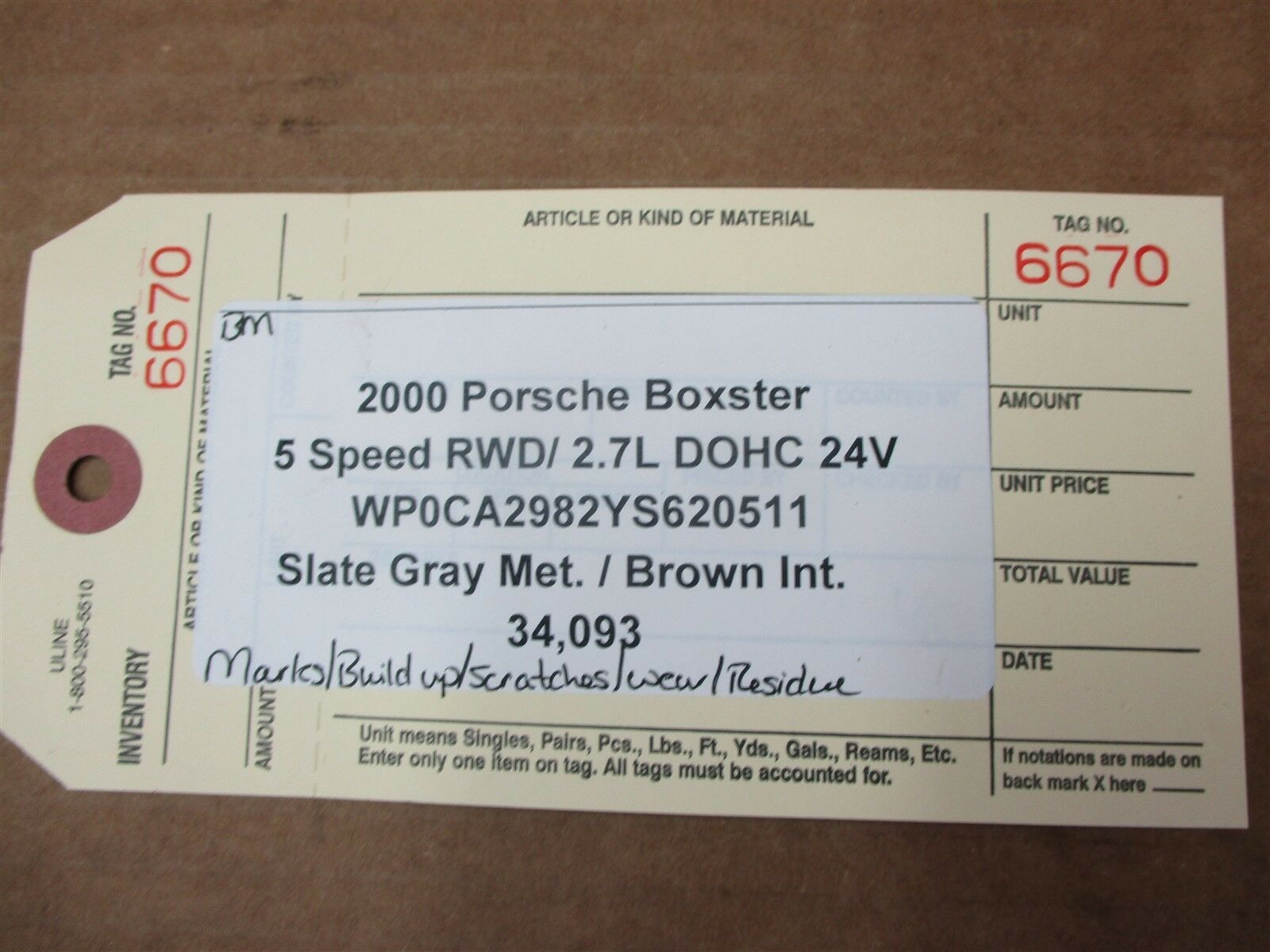 00 Boxster RWD Porsche 986 INTERIOR TOP ROOF RELEASE LATCH TRIM 34,093