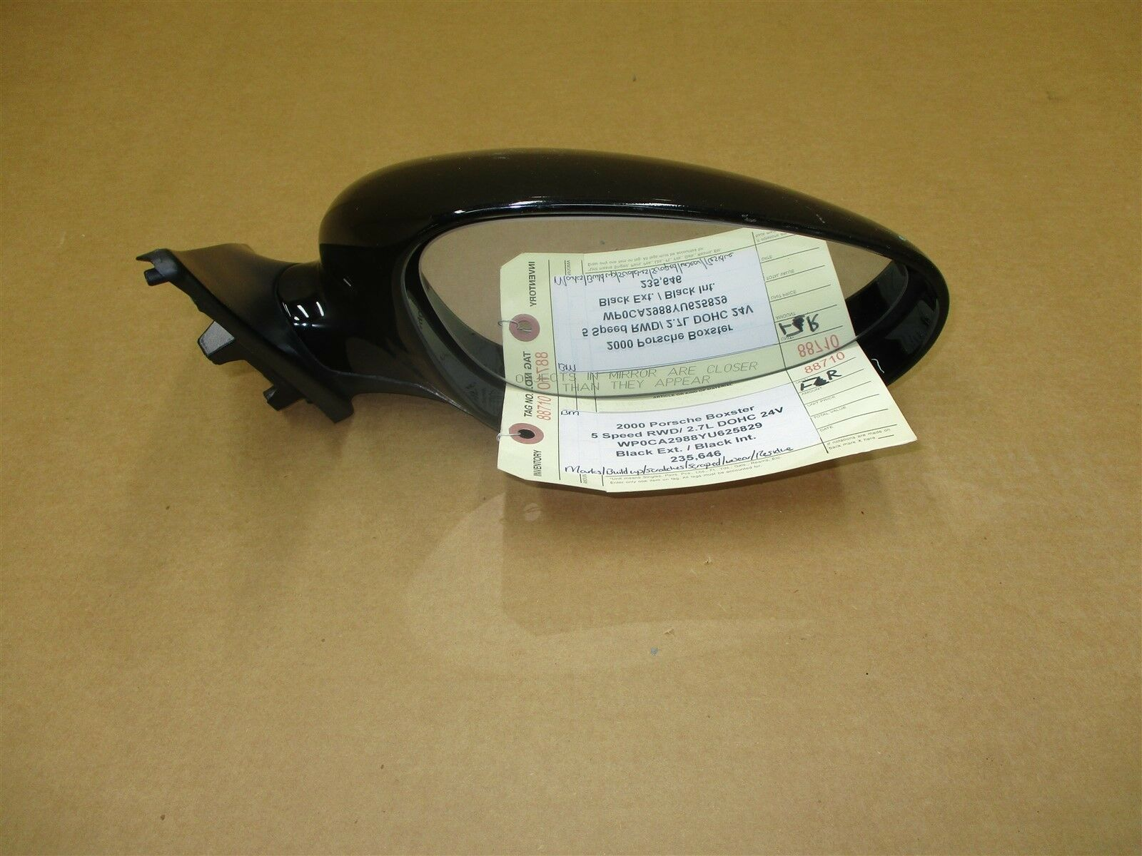 00 Boxster RWD Porsche 986 R EXTERIOR REAR VIEW MIRROR HOUSING Black 235,646