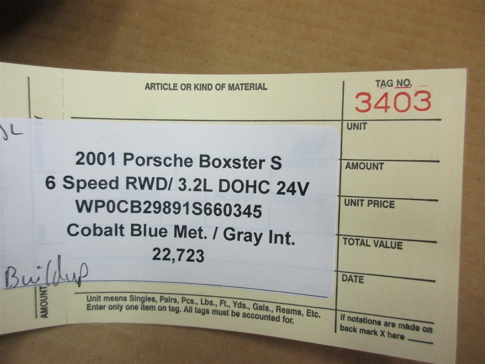 01 Boxster S RWD Porsche 986 BOSCH COLD AIR INJECTION PUMP 99660510400 22,723