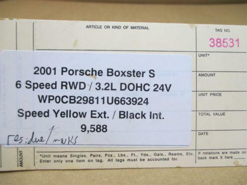 01 Boxster S RWD Porsche 986 Engine 3.2 R OIL SUCTION PUMP 99610702154 9,588