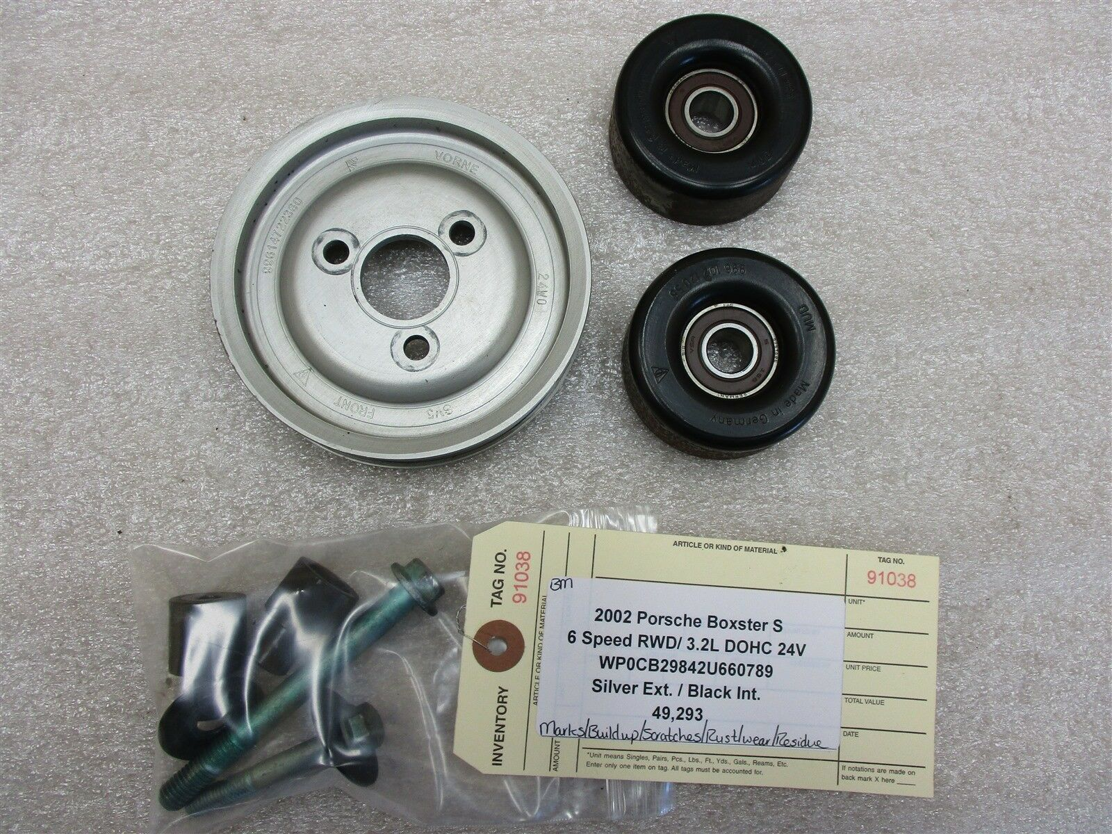 02 Boxster S RWD Porsche 986 Engine 3.2 PULLEYS 99614722360 99610212055 49,293