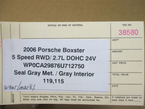 06 Boxster RWD Porsche 987 5 Speed Manual Transmission CASE HALF 119,115
