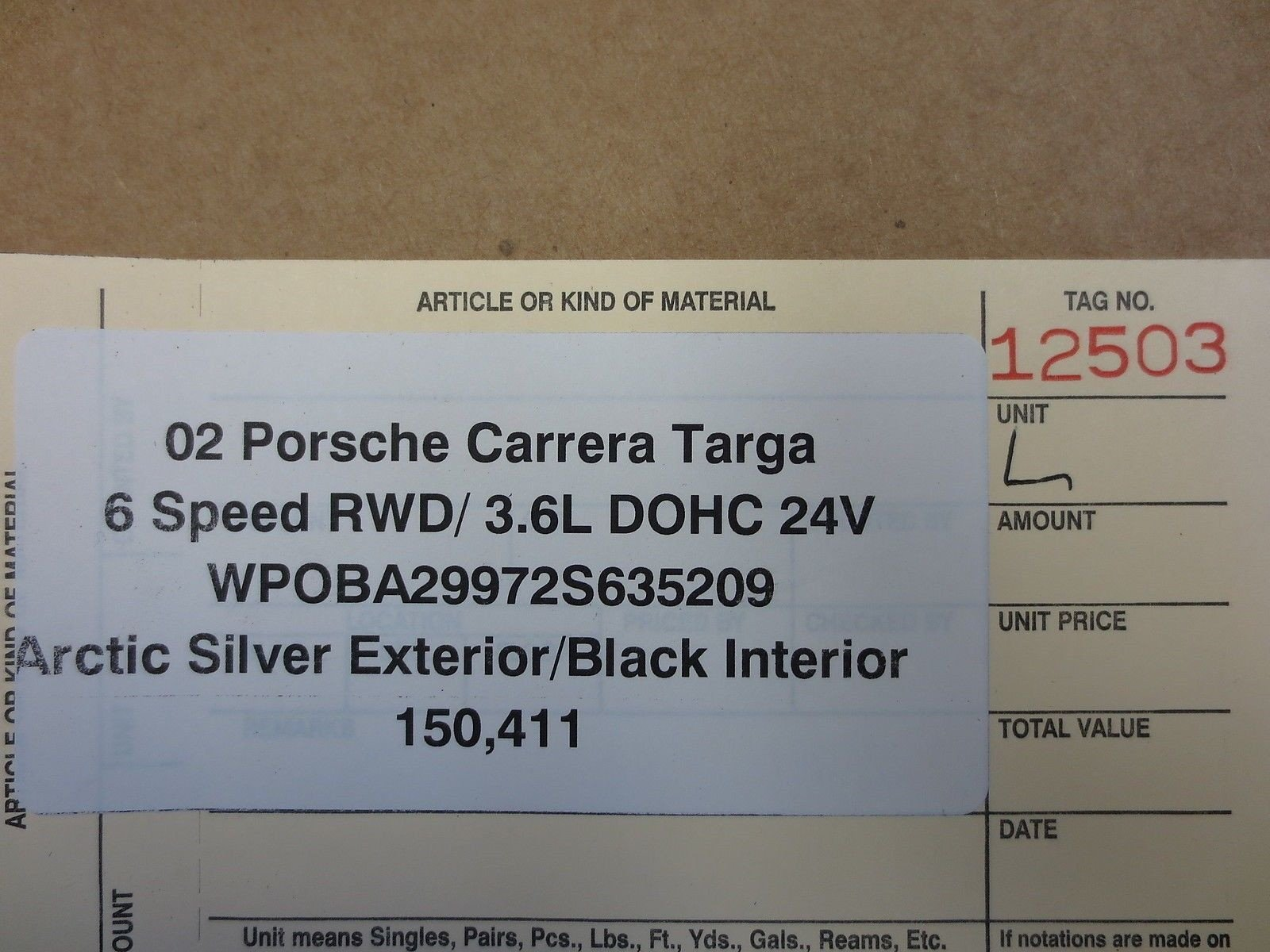 02 Porsche 911 Carrera Targa 996 Rear L TRIM 996.555.445.00 Rear Black 150K