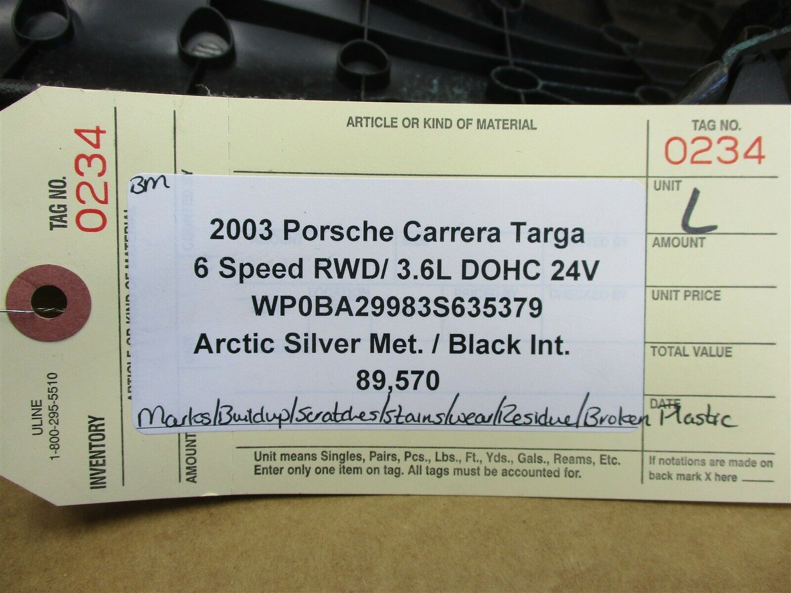 03 Carrera Targa 911 RWD Porsche 996 L INTERIOR PILLAR TRIM 99655506100 89,570